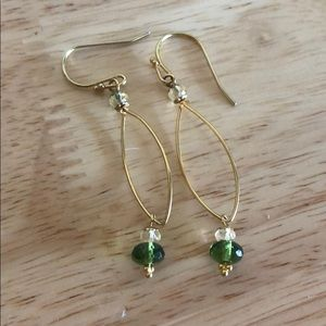 Gold Green Teardrop Earrings